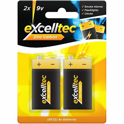2 x 9V Excell Super Heavy Duty Zinc Carbon Batteries Smoke Alarm PP3 6LR61