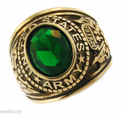 Army Emerald Green Stone US Military Gold Plated Ring Size 13