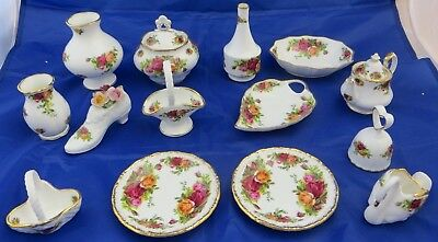 14 Piece Job Lot of Royal Albert Old Country Roses, includes bell, baskets, swan