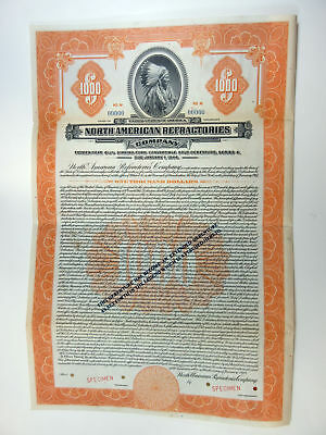 North American Refractories Co., 1929 $1,000 Specimen 6 1/2% Gold Bond, XF ABNC