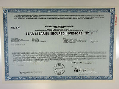 Bear Stearns Secured Investors Inc., 1990 Mortgage Backed Specimen Cert -Green