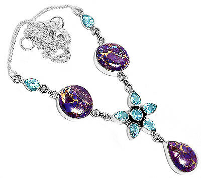 20g Copper Purple Turquoise & Blue Topaz 925 Silver Necklace Jewelry SN17373