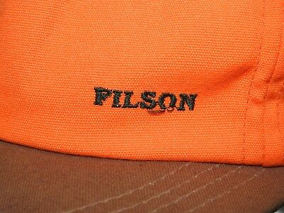 2ed484d5621a6 Vtg CC FILSON BLAZE ORANGE COTTON + TAN TIN CLOTH HUNTING BALL CAP Outdoors  Hat