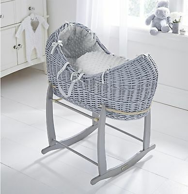 NEW Clair de Lune Dimple Grey Wicker Pod Moses Basket and Rocking Stand
