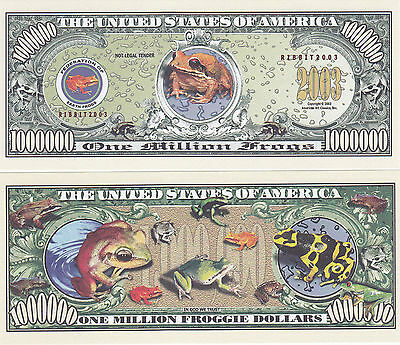 Frogs Froggie Tropical Ribbit Million Frog Dollars Novelty Currency Bill #156