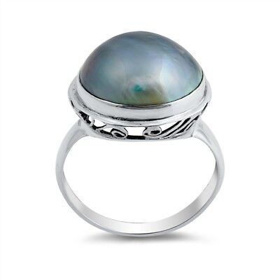USA Seller Blue Mabe Pearl Ring Sterling Silver 925 Fine Jewelry Gift Selectable
