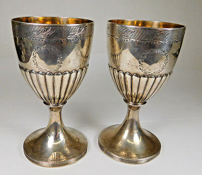 Vintage Pair Of British Henry Chawner/John Emes Sterling Silver Wedding Goblets
