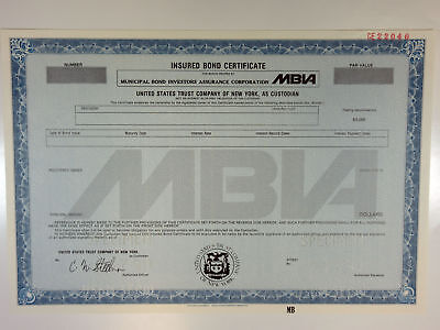 MBIA Specimen Insured Bond Certificate, 1989 XF condition, SCUSBNC