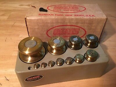 Vintage OHAUS BRASS SCALE WEIGHTS In Case Missing 1