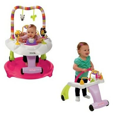 NEW Kolcraft Baby Sit And Step 2-In-1 Activity Center - Pink Bear Hugs