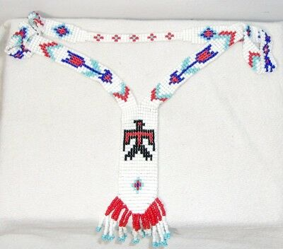 Vintage Native American Indian Seed Bead Necklace Beaded Thunderbird & Arrows