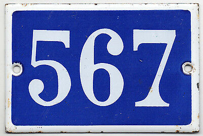 Old blue French house number 567 door gate plate plaque enamel steel metal sign