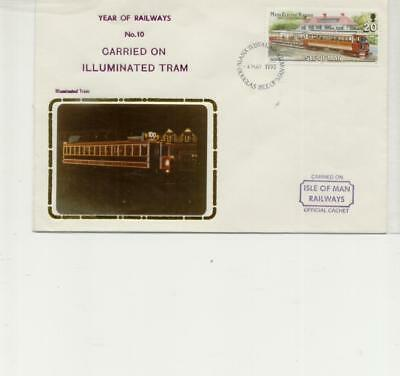 Isle of Man Railway Cover Carried on Illuminated Tram 1993