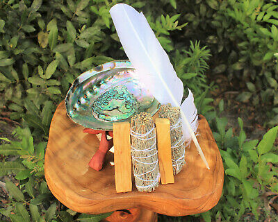 Smudge Kit: Large Abalone Shell Stand 2 x Palo Santo 2 x White Sage + Feather