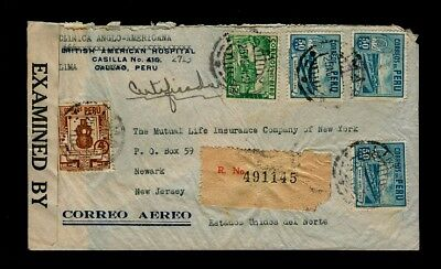 25 August 1942 Lima Peru Registered Censored Cover to Newark NJ USA