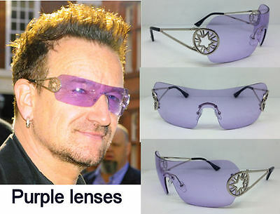 Bono Sunglasses Shield Star Concert Tour Purple Lenses Vertigo Sale