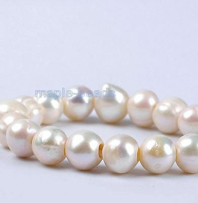 4pcs,2mm Large hole,9mm-10mm white ivory round Pearls-Genuine fresh water Pearls