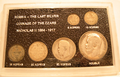 Russia The Last Silver Coinage of The Czars Nicholas II 1894-1917 6 Silver Coins