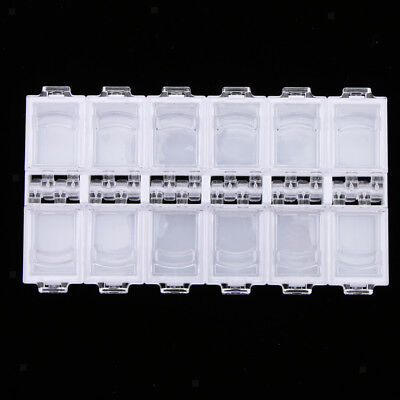 Plastic Storage Box Case Nail Art False Tips Beads Empty Container 12 Grids