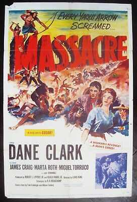 Massacre 1956 Dane Clark Original US One Sheet Poster