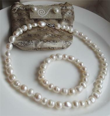 Honora White Pearl Sterling Silver Necklace Bracelet Earrings Set New Bag Qvc