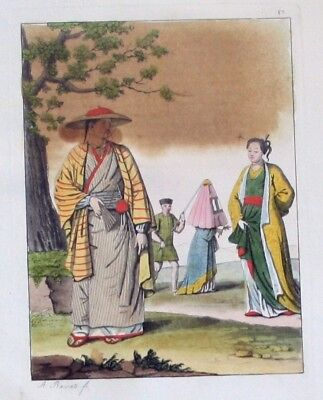 1825 - Japan costumes Trachten Aquatinta aquatint antique print