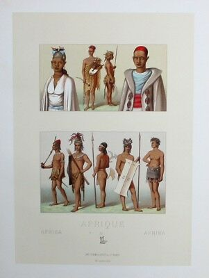 1880 - Afrika Africa Timbuktu Nil Nile costumes Lithographie lithograph