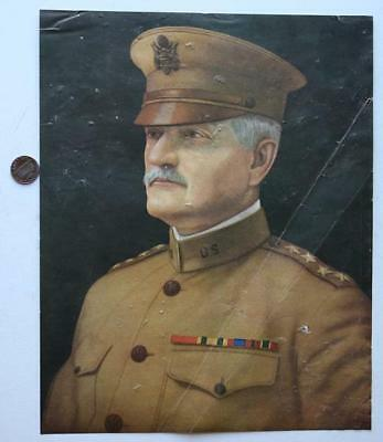 "1918 World War I Era General John J.""Blackjack"" Pershing colorful portrait print"
