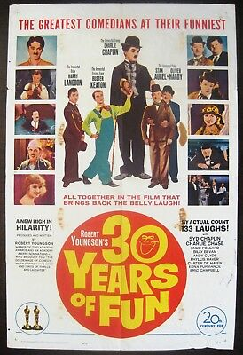 30 Years Of Fun 1963 Charlie Chaplin Buster Keaton Laurel & Hardy US Poster