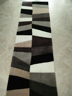 """2x8 (2'6"""" x 8') Runner Contemporary Abstract Gray Hand Tufted Plush Area Rug"""