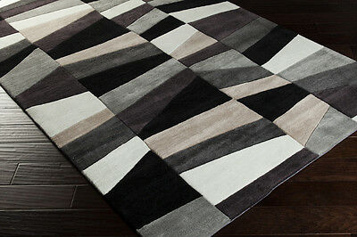 5x8 & 2x3 Plush Contemporary Modern Abstract Black Gray Hand Tufted Area Rugs