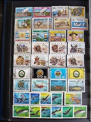 Collection of Tanzania Used Issues on 6 x Stock Book Pages - Useful ?