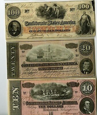 3 Confederate States Of America Notes, $100, $20, $10