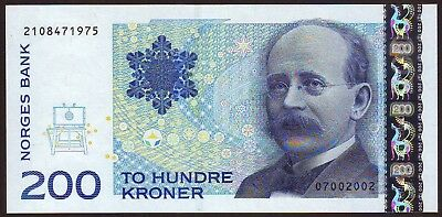 NORWAY   200 Kroner  2002    Gem UNC
