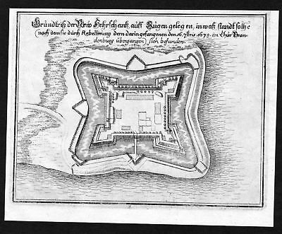 1680 Altefähr Rügen Schanze Plan map Karte Kupferstich antique print Merian