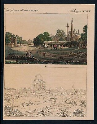 1800 - Delhi India Indien map Kupferstich engraving Bertuch
