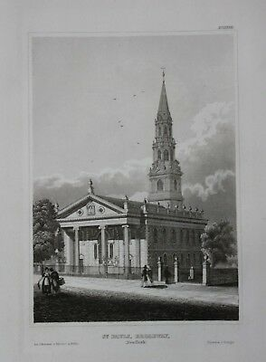 1840 - St. Paul's Chapel Broadway New York USA engraving gravure Stahlstich