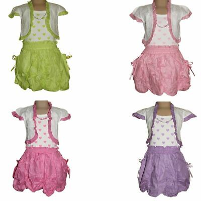 Girl Strap Dress Children 2 Piece Bolero short Sleeve Pockets Size