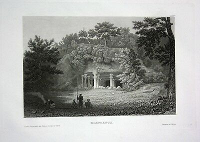 1840 Elephanta Insel Thane Creek Mumbai Raigad Indien India engraving Stahlstich