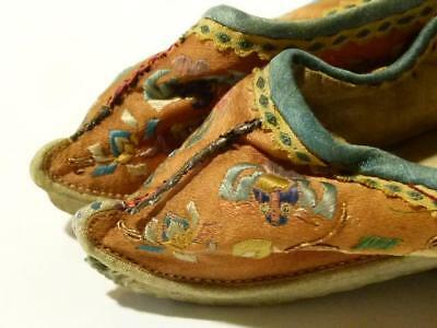 Antique 19thC Pair of Ladies Silk Embroidered Chinese Shoes Foot Binding Bound