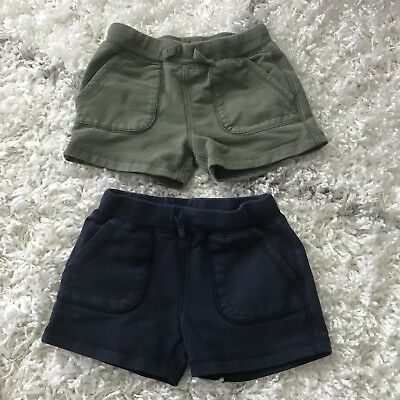 Primary.com Cotton Shorts Size 2-3 Blue Green
