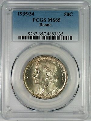 1934/35 50c Boone Commemorative Silver Half Dollar PCGS MS65