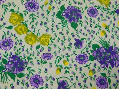 """1.5 Yards 36"""" wide Vintage Cotton Quilt FABRIC Purple VIOLETS Yellow FLowers"""