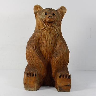 """Large Carved Wooden Bear Glass Eyes 23.5""""T X 13""""W X 10""""D"""