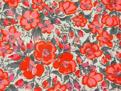 """2.75 Yards 36"""" wide Vintage Cotton Quilt FABRIC Red Gray Pink White FLoral"""