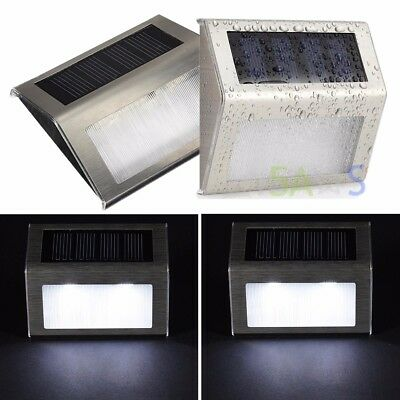 2pcs Solar Power LED Lights Wall Outdoor Garden Security Lamp Stainless Steel