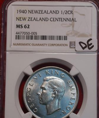 1940 New Zealand 1/2 Crown Silver Coin NGC Graded MS 62