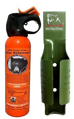 UDAP Bear Pepper Spray Repellant with Moss Green Griz Guard Holster