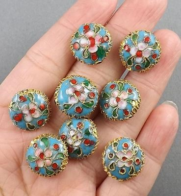 6pcs-15mmX7mm Light blue/pink Cloisonne floral coin rondelle beads
