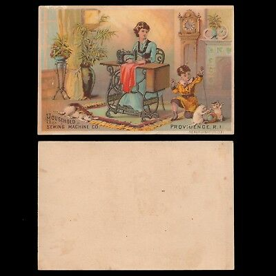 Victorian Trade Card - Household Sewing Machine Providence RI - Woman Child Cats